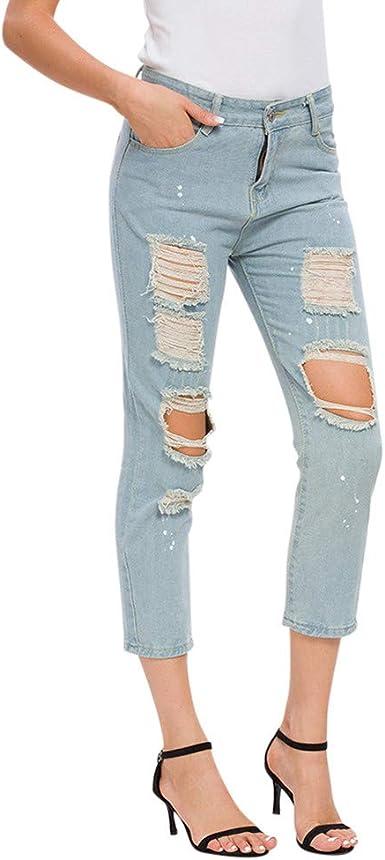 Mrtom Vaqueros Mujer Rotos Tobillos Pantalones Anchos De La Pierna Denim Jeans Elasticos Cintura Alta Pantalones Largos Rectos Slim Fit Amazon Es Ropa Y Accesorios
