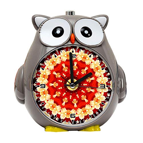 girlsight1 Owl Alarm Clock for Kids, Silent Non-Ticking Cartoon Quartz Loud Alarm Clock, Cute, Handheld Sized, Backlight, Personality Pattern flower011.Abstract Art, Abstract