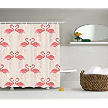 Ambesonne Flamingo Decor Collection, Flamingo Couple Heart Shape with Polka Dot Background Romantic Design Art, Polyester Fabric Bathroom Shower Curtain, Salmon Pink White