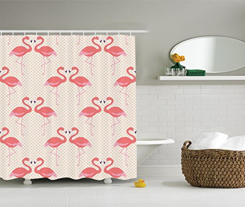 Ambesonne Flamingo Decor Collection, Flamingo Couple Heart Shape with Polka Dot Background Romantic Design Art, Polyester Fabric Bathroom Shower Curtain, 75 Inches Long, Salmon Pink (Pink Polka Dot Backgrounds)