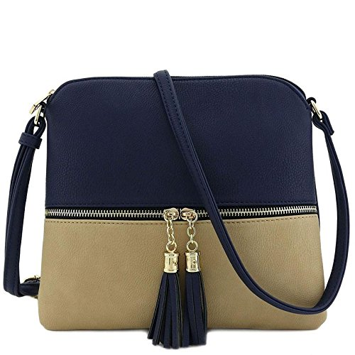Lightweight Medium Crossbody Bag with Tassel (Navy/Taupe)