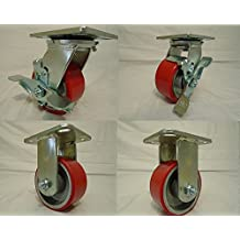 "4"" X 2"" Swivel Caster Heavy Duty Polyurethane Wheel on Steel Hub with Brake(2) and Rigid (2) 700lb Ea Tool Box"