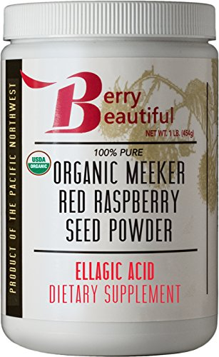 Certified Organic Meeker Red Raspberry Seed Powder - 1 lb (454 grams) - Ellagic Acid and Ellagitannins Supplement - Milled from organically grown seed that is cold pressed by Berry Beautiful (Beautiful Berries)