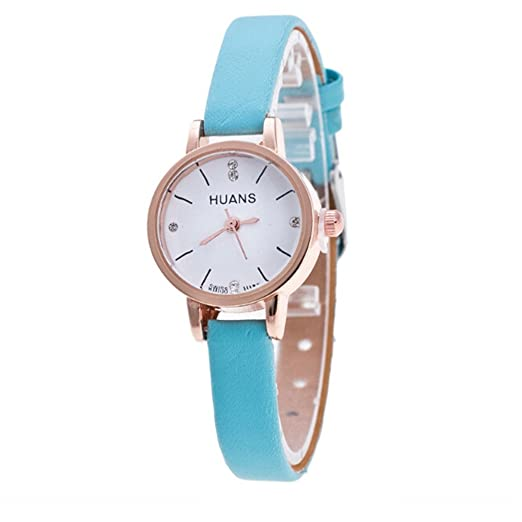 Gusspower Reloj de Pulsera de Cuarzo para Mujeres, Correa de Acero Cuero Color Moda Simple Regalo (Cielo Azul): Amazon.es: Relojes