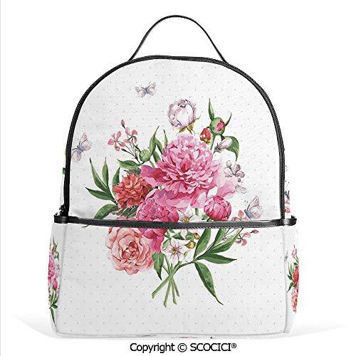Lightweight Chic Bookbag Floral Watercolor Style Card Design Bloom Wildflowers Butterflies Bouquet Polkadot,White Pink Green,Satchel Travel Bag Daypack