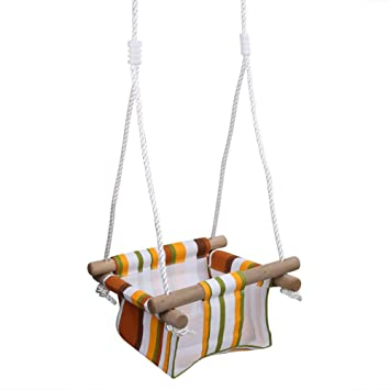 Pellor Baby Toddler Canvas Swing Seat Hammock Chair Indoor Small Swing  Hanging Cradle Trapeze (Colorful