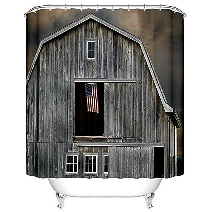 Yokii Farm Themed Shower Curtains Log Cabin American Flag