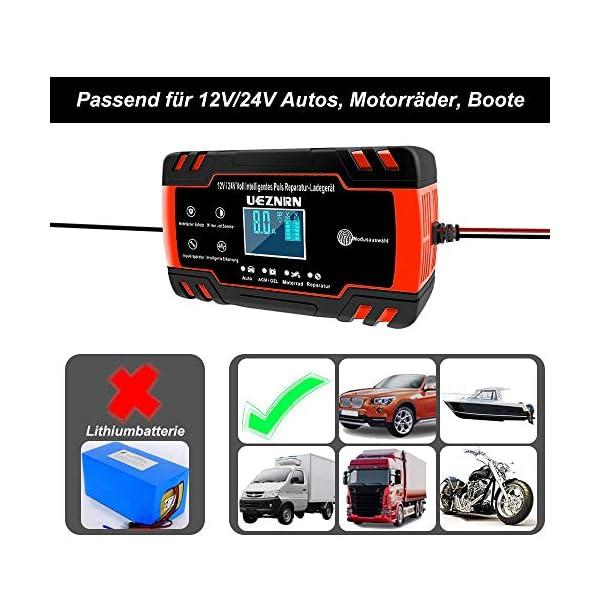 51J0JlE29uL Ueznirn Ladegerät Autobatterie 12V/24V KFZ Batterieladegerät Vollautomatisches Intelligentes Erhaltungsladegerät mit LCD…