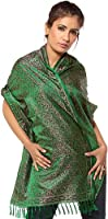 Exotic India Tehra Banarasi Stole Hand-Woven with All-Over Paisleys