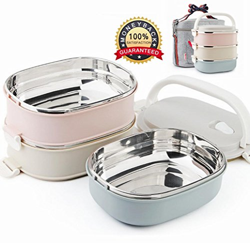 Stainless Steel Stacking Lunch Box,Insulated Bentos 3 Tier/ Food Carrier /Food Container / Taffin Lunch Box Containers Portion Control Containers,Hold Warm for 3 Hours (As pictures)