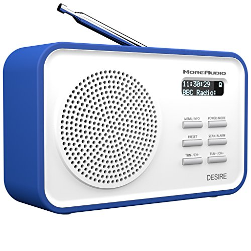AZATOM MoreAudio Desire DAB+ Digital FM Radio Alarm Clock - Portable - Rechargeable battery (Blue)