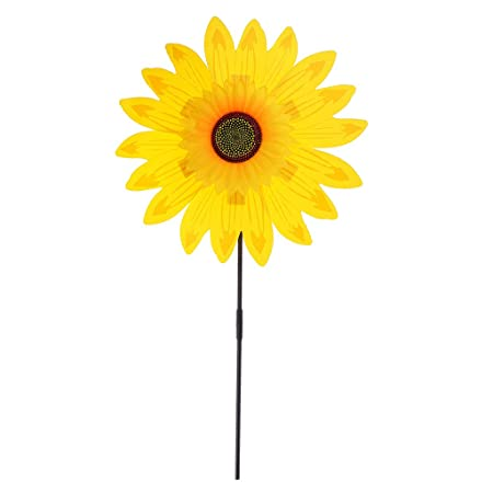AmWISH 36cm DIY Sunflower Windmill Pinwheel Kids Outdoor Camping Beach Toy Home Garden Yard Decor Yellow