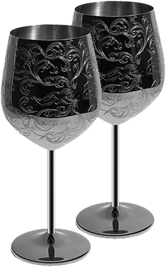SKY FISH Verres à vin en Acier Inoxydable avec plaqué Noir, gravé de gravures baroques complexes et Authentiques, gobelets à vin de Style Royal, Lot