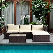 Merax 5-Piece Cushioned Outdoor Patio PE Rattan Furniture Set Sectional Garden Sofa (Brown.)