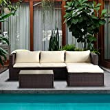 (US) Merax 5-Piece Cushioned Outdoor Patio PE Rattan Furniture Set Sectional Garden Sofa (Brown.)