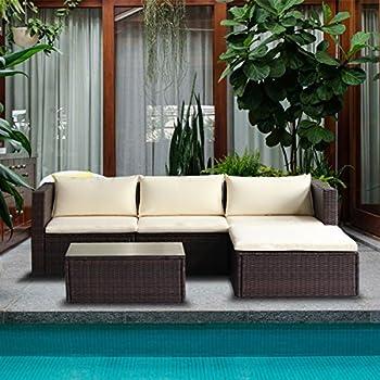 Merax 5 Piece Cushioned Outdoor Patio PE Rattan Furniture Set Sectional  Garden Sofa (Brown