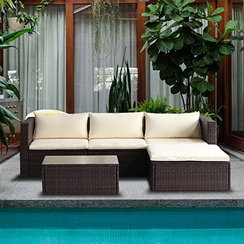 3-Piece Outdoor Patio Furniture Set Cushioned PE Rattan Sectional Garden Sofa - Beige Cushions ()