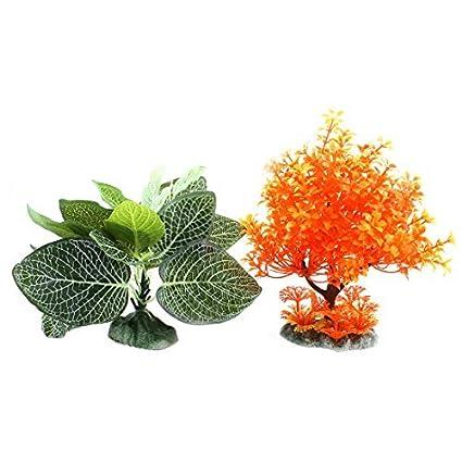 Amazon.com : eDealMax Cerámica de plástico Base acuario de simulación Hierba 2 piezas Naranja Verde : Pet Supplies