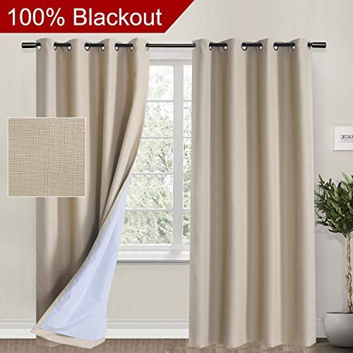 Rose Home Fashion 100% Blackout Curtains for Living Room, Linen Curtain Natural Look Drapes Room Darkening Thermal Insulated Grommet Window Curtains for Bedroom-2 Panels (50x84 Tan)