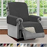 Sofa Shield Original Patent Pending Reversible Recliner Slipcover, Dogs, 2' Strap/Hook Seat Width Up to 28' Washable Furniture Protector, Slip Cover Throw for Pets, Kids (Recliner: Charcoal/Linen)