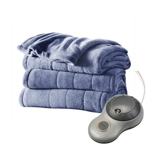 Sunbeam Heated Plush Electric Blanket, Twin Size, Lagoon Blue