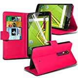 ONX3® ( Hot Pink ) Motorola Moto X Play Case Custom Made BookStyle PU Leather Wallet Flip With Credit / Debit Card Slot Case Skin Cover With LCD Screen Protector Guard, Polishing Cloth & Mini Retractable Stylus Pen