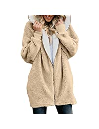 KOERIM Women's Fuzzy Fleece Long Sleeve Open Front Cardigan Coat with Pocket