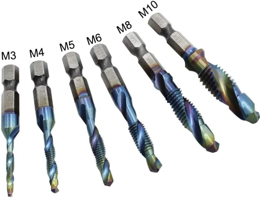 Hex Shank Spiral Tapping Chamfering Drill Bits High Speed Steel Compound Tap Drill Bit