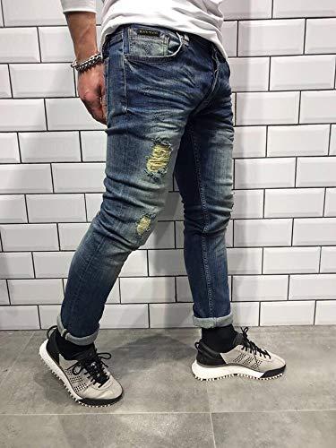 Hellowarm Hombre Hip Hop Long Pencil Pants Ripped Jeans Azul