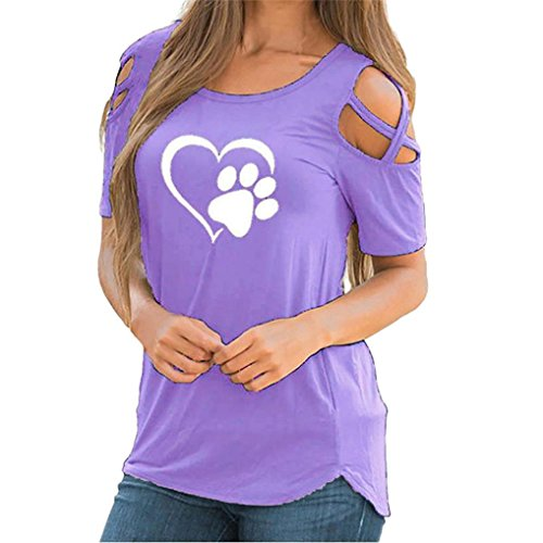 Cuff Flutter (iTLOTL Women Summer Short Sleeve Print Strappy Cold Shoulder T-Shirt Tops Blouses(US:14/CN:XL, Purple))