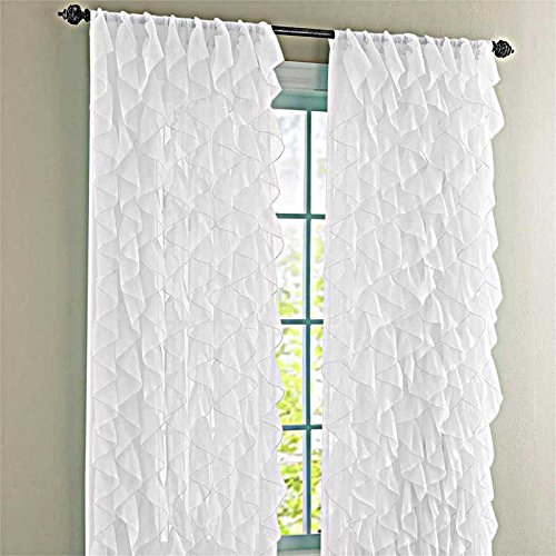 "Cascade White 84"" Shabby Chic Sheer Ruffled Curtain Panel"