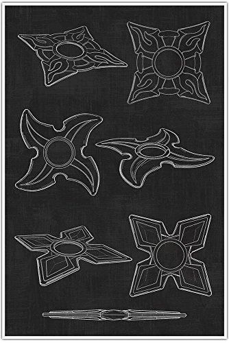 Weapons Patent Print, Ninja Throwing Stars, Blueprint Patent, Patent Poster, Blueprint Poster, Art, Gift, Poster Print, Patent Poster ()