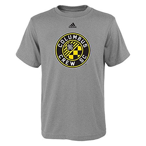 fan products of MLS Columbus Crew Boys -Primary Logo Short sleeve Tee, Heather Grey, Medium (10-12)