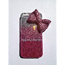 Bling Bling 3D Pink bow knot ribbon iPhone 7 PLUS / iPhone 8 PLUS crystals diamond case cover PINK mixed with Silver USA seller *FREE CELL phone holder