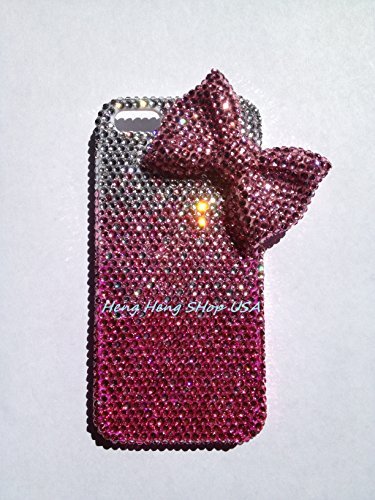 Bling Bling 3D Pink bow knot ribbon iPhone 7 PLUS / iPhone 8 PLUS crystals diamond case cover PINK mixed with Silver USA seller *FREE CELL phone - Iphone Case 6 From Chanel