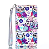 Abtory iPhone 8 Plus PU Leather Case, Leather Wallet Flip Protective Case Cover with Card Slots and Stand for iPhone 7 Plus/iPhone 8 Plus Owl