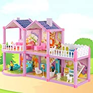 YASSUN House Castle House, Simulation Room, Girl Gift House Toy, Assembled Semi-Plastic Plate, 23x7.07x15&