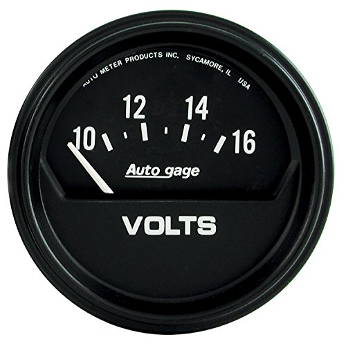 Autometer Autogage Voltmeter Gauge - AutoMeter 2319 Autogage Electric Voltmeter Gauge; 2-5/8 in; Black Dial Face; White Pointer; White Incandescent Lighting; Electric Air-Core; 10-16V;
