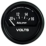 "Auto Meter 2319 Auto Gage 2-5/8"" 10-16 Volt Short Sweep Electric Voltmeter"