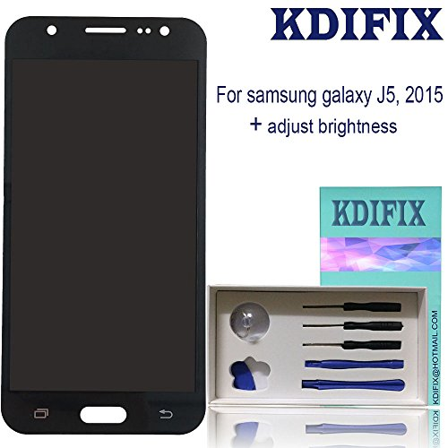 KDIFIX for Samsung Galaxy J5 2015 J500 J500M J500F J500Y J500H J500FN LCD Touch Screen Assembly with Full Professional Repair Tools kit,NOT for 2016 and 2017 Version (Black+Adjust Brightness)