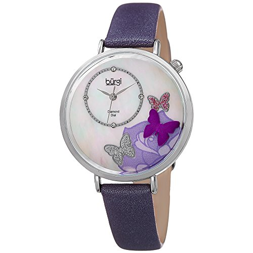 Burgi BUR158 Skinny Leather Women's Watch with Crystal Butterflies, Genuine Diamond Markers and Flower Designs on Mother of Pearl Dial – Classic Round Analog Quartz (Purple)