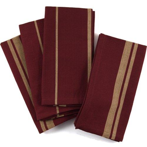 UPC 029441040987, Crimson And Gold Stripe 100% Cotton Dinner Napkins, Set Of 12