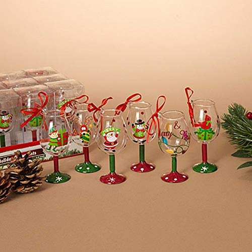 "Set of 6 ~ 4"" Wine Glass Christmas Ornaments Adorned with Christmas Characters ~ Hand Painted"
