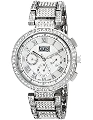 Burgi Womens BUR123SS Crystal Accented Mother-of-Pearl Swiss Quartz Multifunction Silver Bracelet Watch