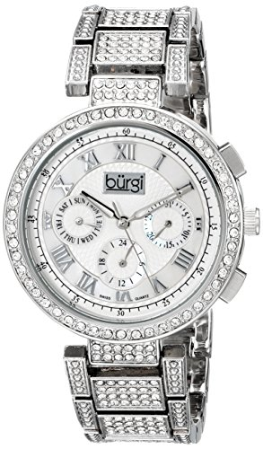 Burgi Women's BUR123SS Crystal Accented Mother-of-Pearl Swiss Quartz Multifunction Silver Bracelet Watch