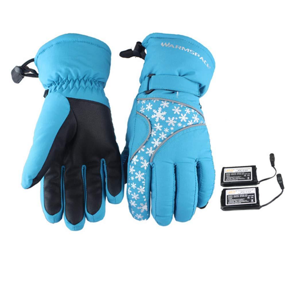 QARYYQ Wiederaufladbare Lithium-Ionen-Akku-Heizhandschuhe, Radfahrer-Motorrad Beim Wandern Mit Warmen Handschuhen Beheizte Handschuhe (Farbe   Blau)