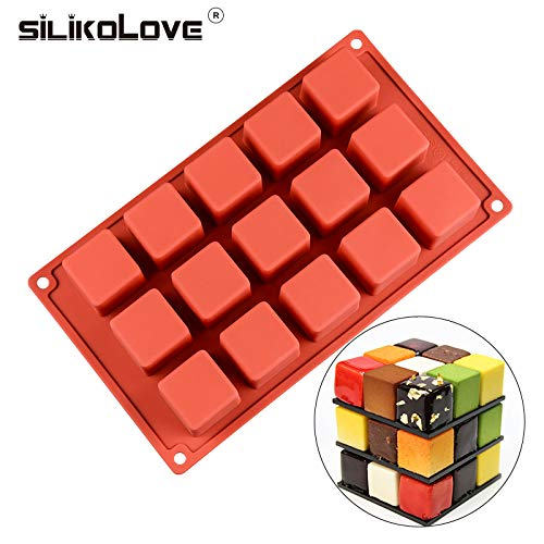 SILIKOLOVE New 15 Cavity Cube Square Shape Silicone Mold for Cake Decorating Tools DIY Dessert Cake Moulds For Kitchen Baking