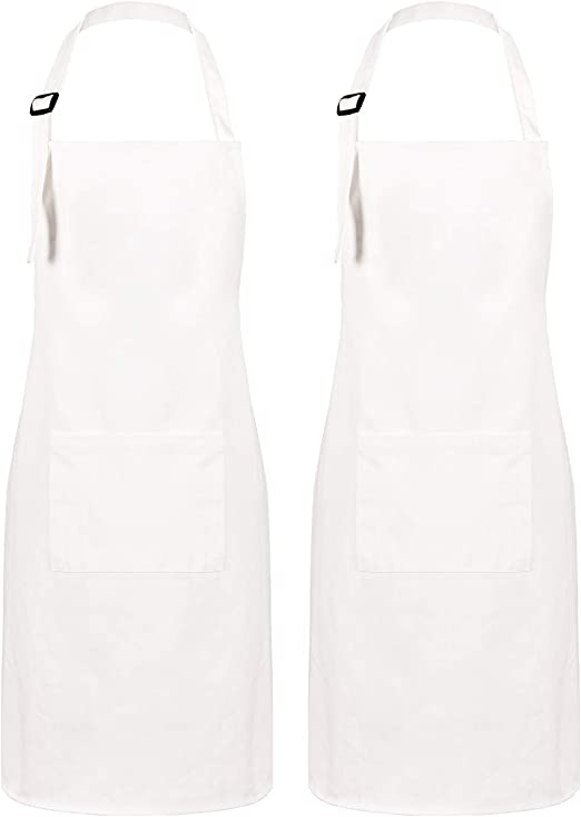 White Kitchen Aprons Adjustable Baking Aprons for Men Women Couple Chef Sevenstars 2 Pack 100/% Cotton Cooking Aprons with Pockets