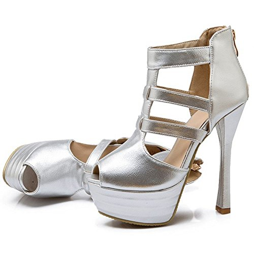 Silver Toe Women Peep LongFengMa Platform Heel High Ankle Sandals Wrap Party Sexy xUwHRHpqC