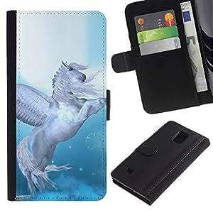 Paccase / Billetera de Cuero Caso del tirón Titular de la tarjeta Carcasa Funda para - Pegasus Wings Blue White Horse Animal - Samsung Galaxy Note 4 SM-N910